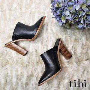 NIB TIBI Black Leather Stacked Heel Mules, 7.5M